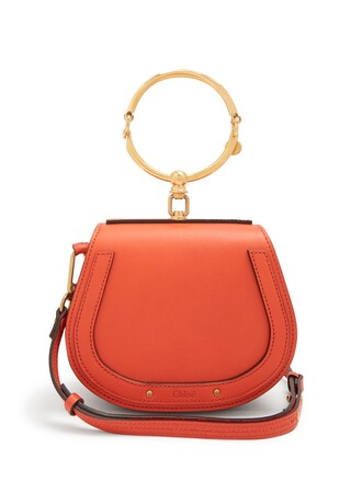 cross bag leather suede red