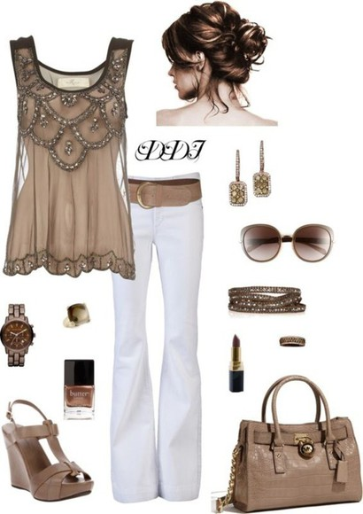 embellished blouse brown embellished top sleeveless sunglasses scalloped brown top, brown beige gorgeous