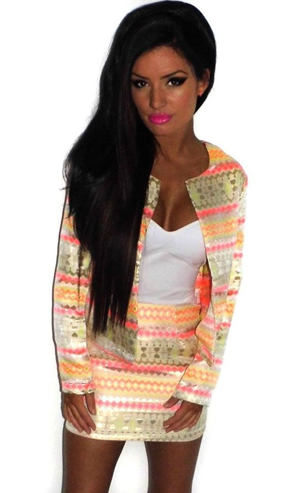 jacket aztec candy neon colorful colorful clothes two-piece skirt blazer dress coat green pink yellow orange