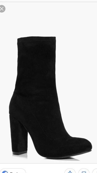 shoes sock boot black boots block heels