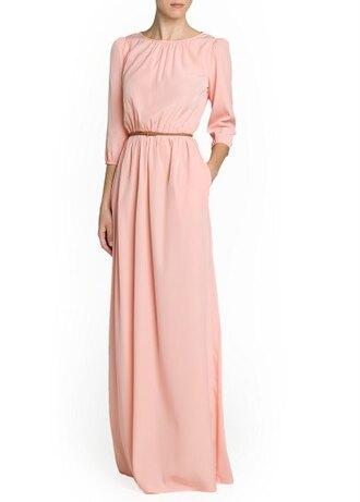 dress maxi dress long dress salmon braided belt long dress mango