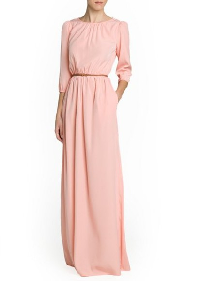 dress salmon long dress maxi dress braided belt long dress mango