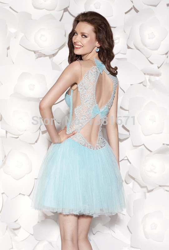 Aliexpress.com : Buy 2014 New Arrival Sweetheart Lace Bow Back Sexy Design Ball Gown Mini Graduation Party Dress from Reliable dress wedding gown suppliers on Aojia Top Evening Dress