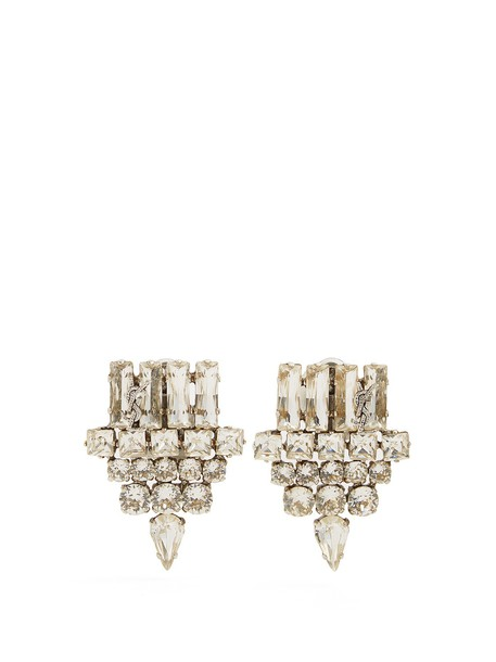 Saint Laurent embellished earrings silver jewels