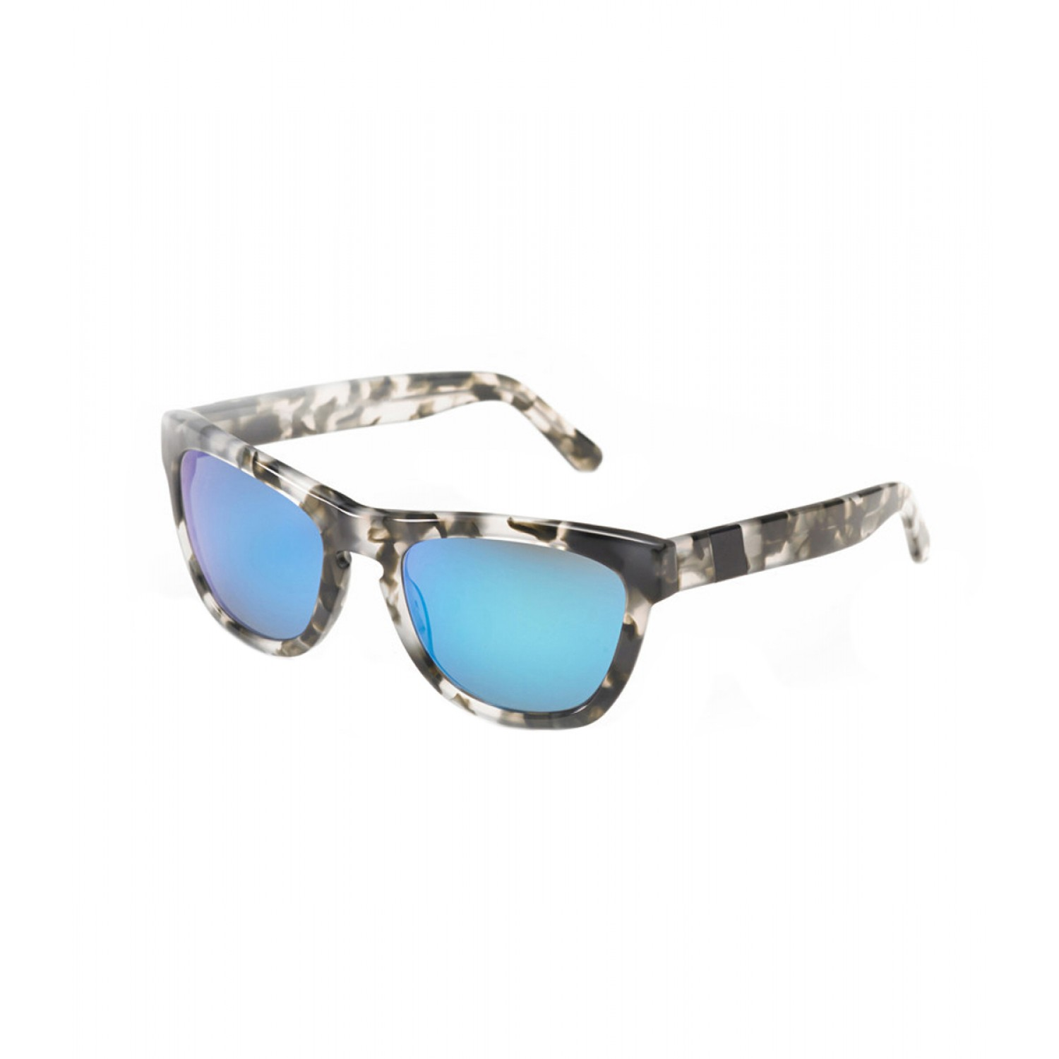 Westward Leaning Black Aluminum Accent Blue Pepper Tortoise Sunglasses - Tortoise Shell Wayfarer Sunglasses - ShopBAZAAR
