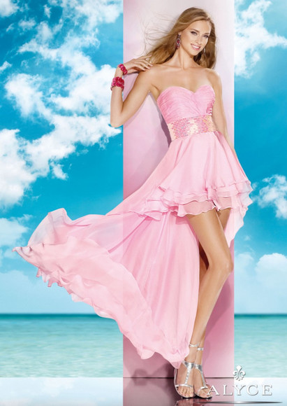 chiffon a-line ruched high-low sweetheart blushing pink ruffles