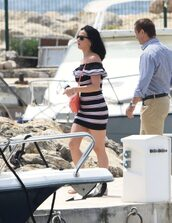dress,off the shoulder,katy perry,cannes,stripes,striped dress