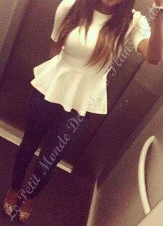 blouse white blouse peplum top peplum