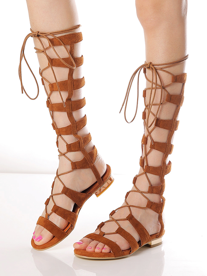 Brown Suede Knee High Lace-up Gladiator Sandals