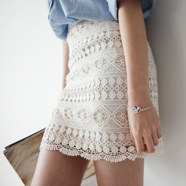 skirt lace skirt white lace skirt blue blouse jewelry clothes