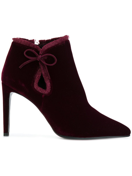 bow women ankle boots leather velvet red shoes