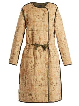 coat floral print velvet cream