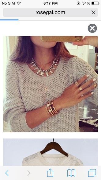 silver necklace statement necklace beige sweater knitted sweater sweater fall sweater college stacked bracelets gold bracelet gold ring nail polish bracelets jewels jewelry necklace fine knit jumper