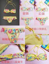 swimwear,bikini,floral,frill,ruffle,yellow