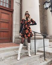 dress,mini dress,floral dress,printed dress,ruffle dress,knee high boots,white boots,high heels boots,black blouse,shoulder bag,sunglasses