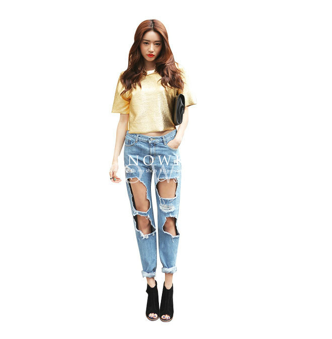 vintage retro style Boyfriend ripped jeans for women plus size