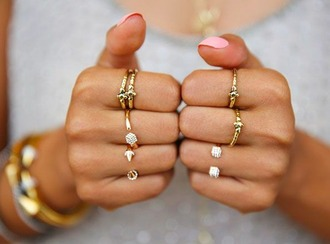 jewels pink nails rings midi gold rings gold ring stacking rings ring set jewelry ring rings and tings