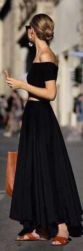 dress,top,skirt,black,sandals,bun