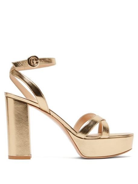 Gianvito Rossi - Poppy 70 Leather Platform Sandals - Womens - Gold