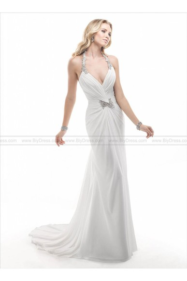 bridal gowns backless wedding dresses 2014 online deep v neck dress