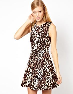 Karen Millen | Karen Millen Skater Dress in Leopard Print at ASOS