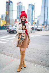 covering bases,curvy,blogger,sweater,skirt,coat,scarf,shoes,hat,bag,winter outfits,leather skirt,thigh high boots