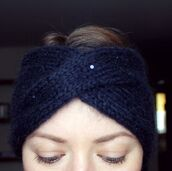hat,headband,turban wrap,navy,hatsandotherstories,head turban,glitter,knit,sequins