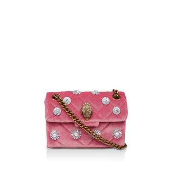 Kurt Geiger London Mini Velvet Kensington - Pink Embellished Mini Shoulder Bag