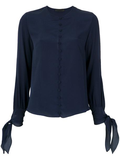 Nk shirt women blue silk top