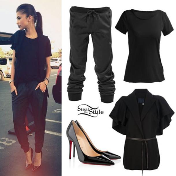 shoes t-shirt pants sweater dress blouse sweatpants black sweatpants black long pants chino zendaya
