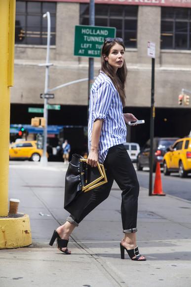 stripes bag a portable package blogger jeans sunglasses