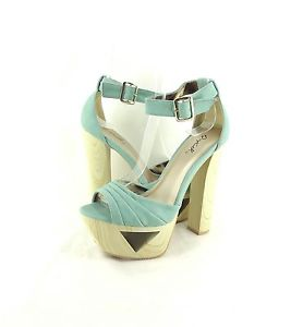 Women's Shoes Qupid Lakie 09 Ankle Cuff Cut Out Platform Sandal Mint *New*