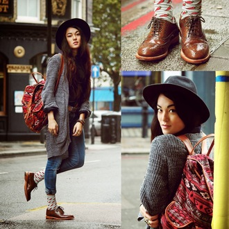 alessandra kamaile blogger cardigan jeans socks belt jewels knitted cardigan fall outfits aztec backpack bag shirt shoes hat