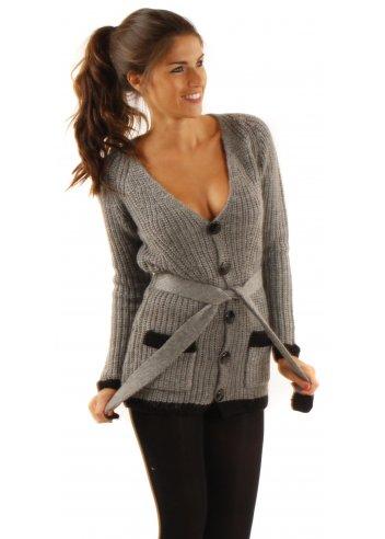ICHI Grey Cardigan | ICHI Chunky Knit Cardigan | Designer Grey Cardigan