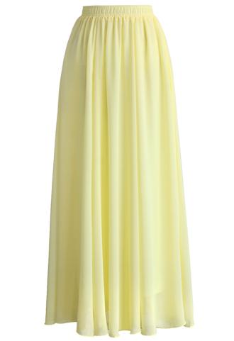 skirt chicwish light yellow skirt chiffon maxi skirt chicwish.com chiffon skirt