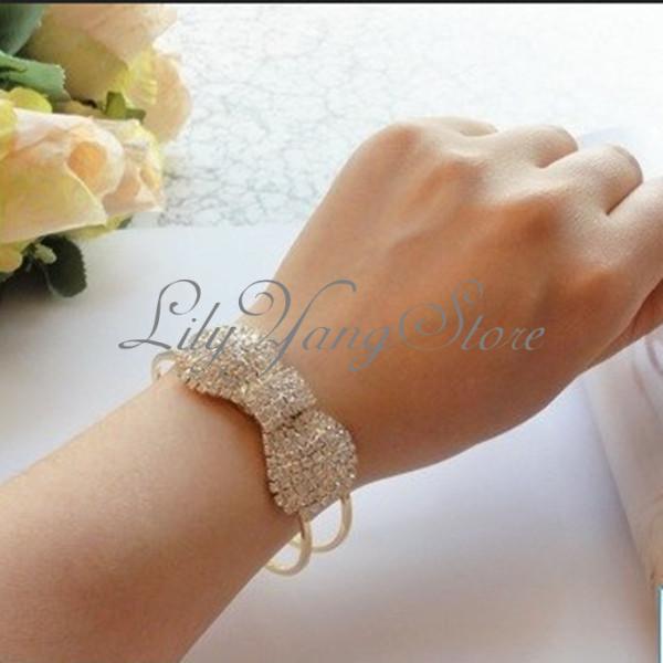 Adjustable bling elegant lady bow crystal bowknot bracelets bangle rhinestone