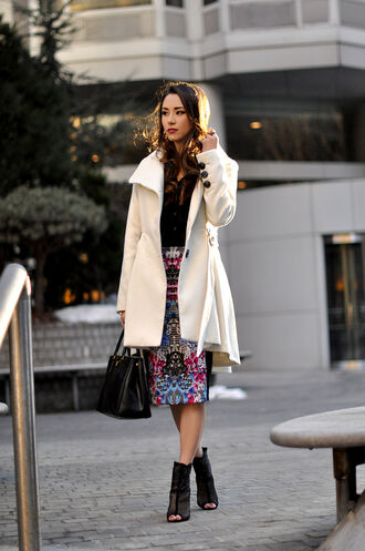 hapa time blogger white coat peep toe boots pencil skirt