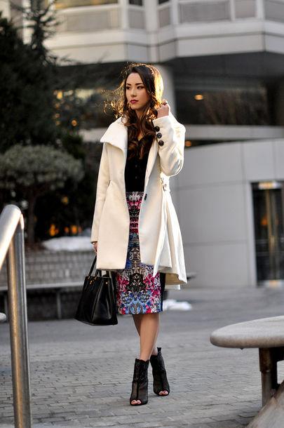 hapa time blogger white coat peep toe boots pencil skirt