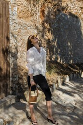 shirt,white shirt,mules,bag,cropped pants,accessories,sunglasses