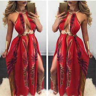 dress red and black sexy maxi rope strap low cut tie dye maxi dress red dress
