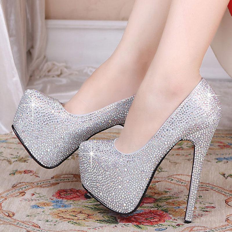 Free shipping silver rhinestone pumps fashion red bottom sexy prom wedding shoes 2014 high heels platform for women brand on Aliexpress.com
