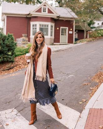skirt brown jacket scarf brown boots tumblr midi skirt grey skirt jacket boots