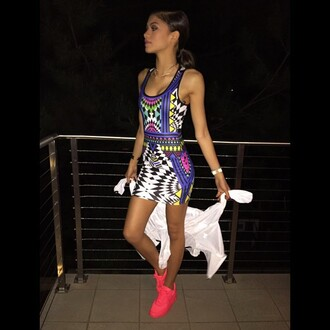 dress colorful zendaya sneakers summer dress summer outfits instagram shoes neon pink air max sexy dress