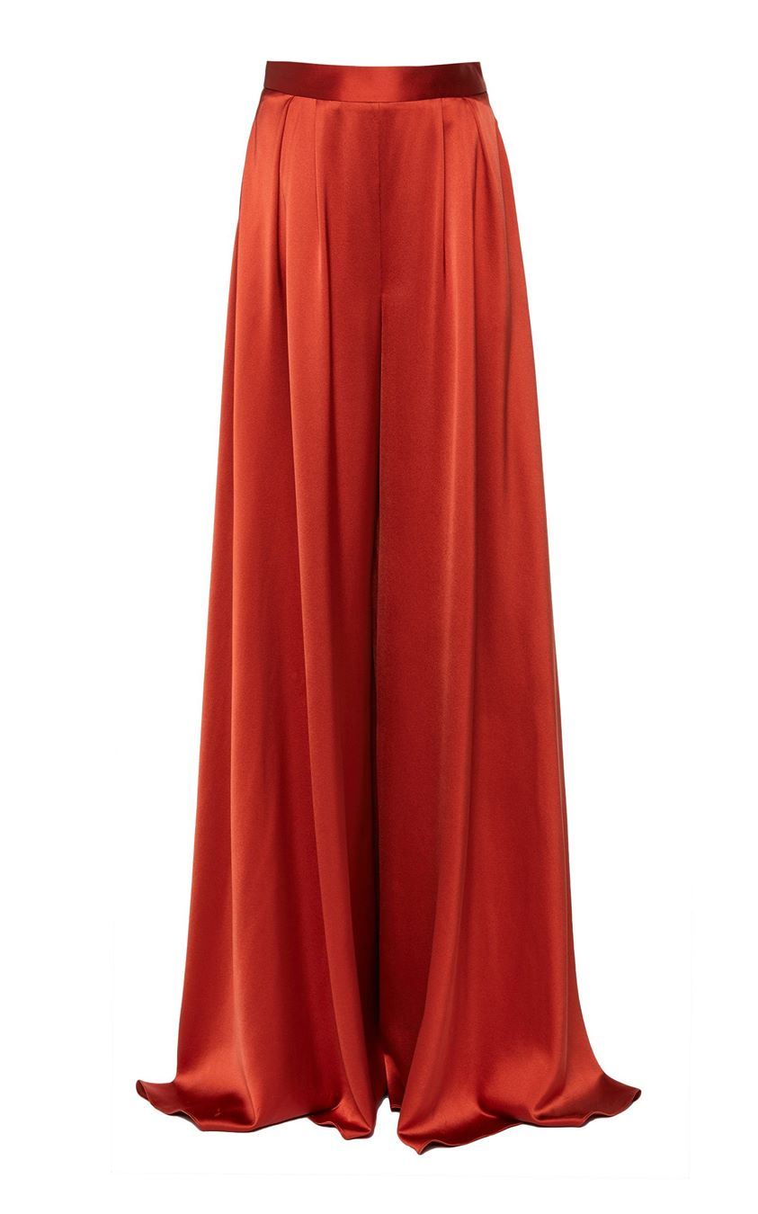 Brandon Maxwell Pleated Silk-Satin Wide-Leg Pants Size: 6