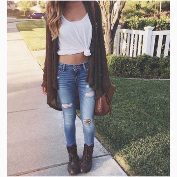 blouse shirt jeans bag cardigan shorts t-shirt pinterest tie-front top white top skinny jeans boots