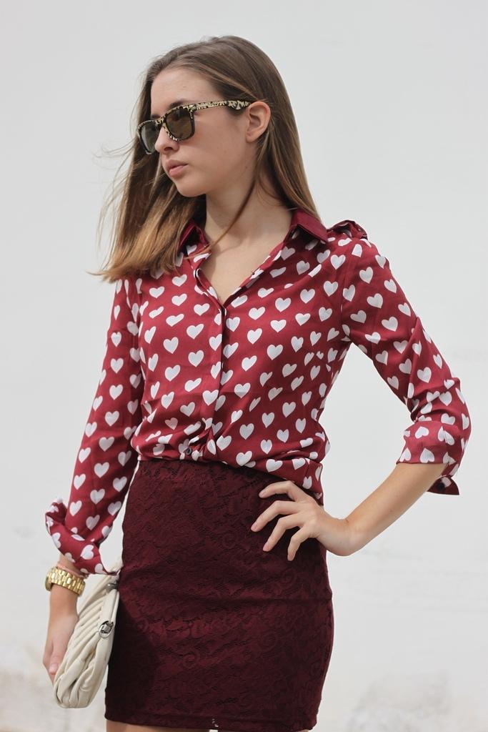 Retro Hearts Printed Shirt [FDBI00342]- US$26.99 - PersunMall.com