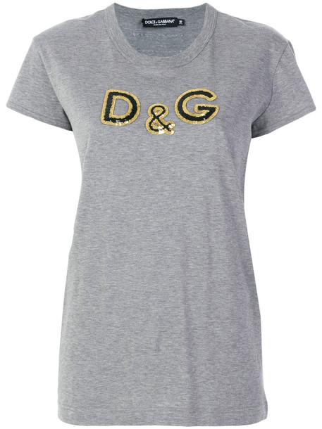 Dolce & Gabbana - sequin detail T-shirt - women - Cotton/Polyester - 46, Grey, Cotton/Polyester