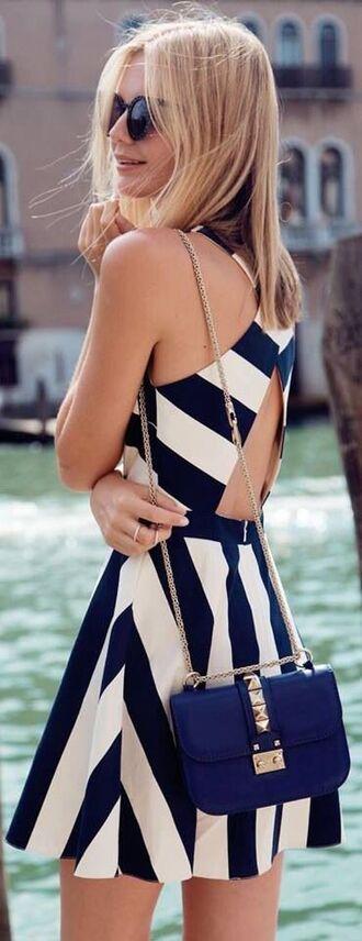 dress blue dress cute cut-out dress strapless dresses blue purse purse bag