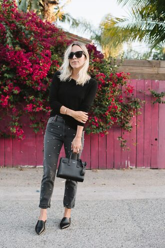 jeans tumblr black jeans embellished embellished denim shoes black shoes mules round sunglasses sweater black sweater bag black bag all black everything socks sunglasses