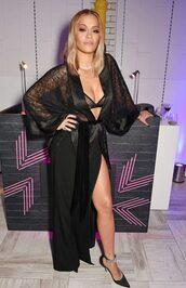 blouse,pumps,rita ora,all black everything,slit skirt,lace,bra,shoes